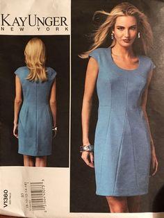 Vogue 1360 Pattern 8-16 Womens Dress Career Kay Unger Designer Sewing Uncut  #Vogue