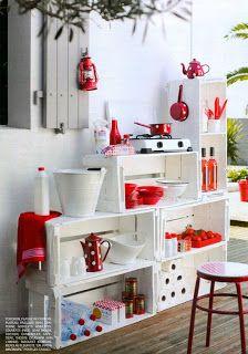 Cocina kitchenette con cajones de verdura de madera reciclados : VCTRY's BLOG