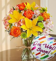 Get Well Soon Bouquet w/Mylar: includes a Get Well Soon Mylar Balloon - Carithers Flowers: Voted Best Florist Atlanta, unique flower arrangements, Roses, Orchids with same-day flower delivery