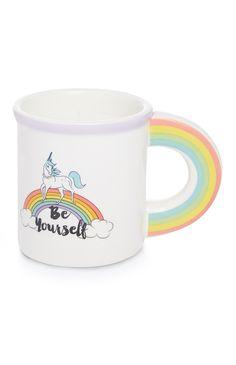 Primark - Caneca branca com arco-íris