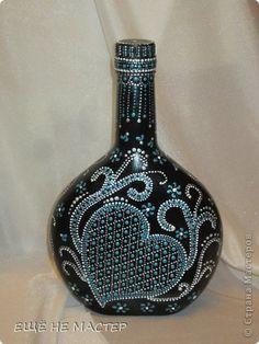 Декор предметов Роспись Бутылка  Бирюзовая фантазия  Бутылки стеклянные Краска фото 4