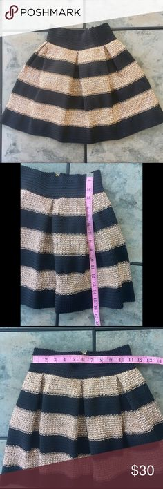 Anthropologie Ginger A-line Black Pleated Skirt S Anthropologie Ginger A-line Black Gold Pleated Skirt Small  *Waist band stretches* Anthropologie Skirts A-Line or Full