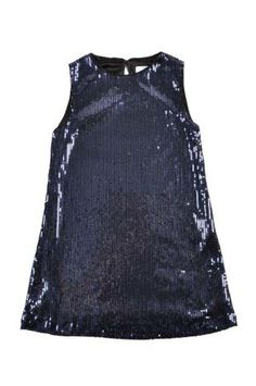Vestido para niña en azul oscuro y bordado en lentejuelas.