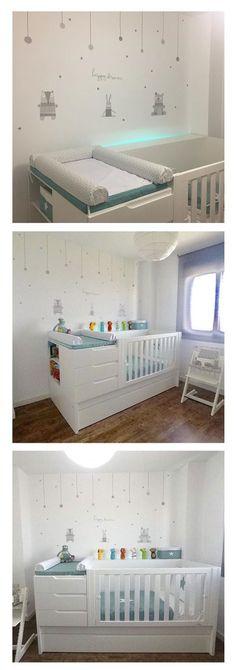 Preciosa la habitación de bebé con la cuna convertible y los textiles Alondra. ¡Una solución de largo recorrido!