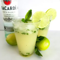 Our Thermomix Mojitos made with rum soda water raw sugar fresh limes and mint are the perfect cocktail for any occasion Bacardi, Sorbet, Baileys Cocktails, Watermelon Vodka, Mojito Recipe, Christmas Pudding, Christmas Lunch, Punch Recipes, Summer Drinks