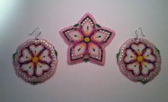 Pink floral set, Native American beadwork