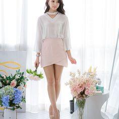 KERRI BUTTON TOUCH TOP! . . . . #koreanfashion #kfashionstyle #glamour #gorgeous #beauty #KerriButtonTop #beagorgeoushera Korean Fashion, Mini Skirts, Blouses, Glamour, Buttons, Touch, Beauty, Style, Beleza