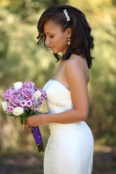 Beautiful loose curls with jeweled comb. #bridalhair #weddinghairstyle
