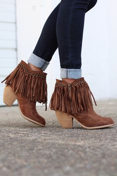 Not Rated: Ayita Fringe Booties {Tan} - The Fair Lady Boutique - 1