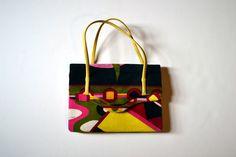 Vintage Emilio Pucci 1960's Signature Mod Print Velvet Handbag.