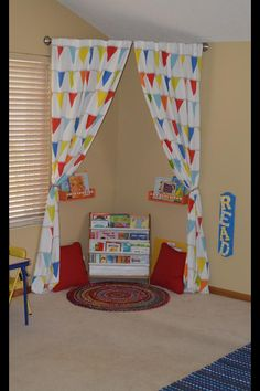 Reading nook...remember the dividing curtain idea for k's room