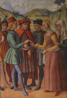 Davide Ghirlandaio (Bigordi), Works of the Buonomini - Dowering Young Girls (detail), 1478-79, San Martino dei Buonomini, Florence.