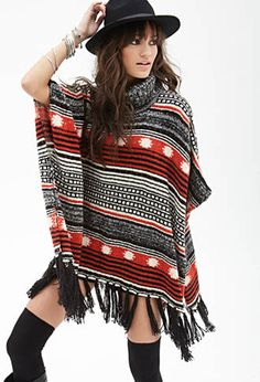 Mixed Stripe Tassel Poncho | FOREVER21 - 2000057767
