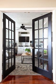 Interior Double French Door With Transom.Interior Sliding French Doors Design For Your Home Home . Home and Family Patio Interior, Interior Trim, Home Interior, Interior Design, Black French Doors, Interior Double French Doors, Double Doors, Black Door, French Doors Bedroom