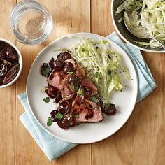 Pork Tenderloin with Roasted Cherries and Shallots - Serve with a quick cabbage slaw: Combine 4 cups thinly sliced green cabbage, cup coarsely chopped fresh flat-leaf parsley, Pork Tenderloin Recipes, Pork Recipes, Pork Roast, Diet Recipes, Healthy Menu, Healthy Recipes, Healthy Eating, Easy Recipes, Easy Meals