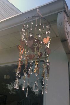Key and Crystal Wind Chime - I'd love to find some old skeleton keys for this project.