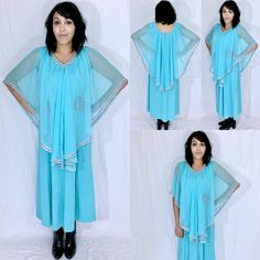 Vintage 70s Turquoise Polyester A-line Maxi Chiffon Overlay Capelet Dress M // L $55.00 https://www.etsy.com/listing/472871148/vintage-70s-turquoise-polyester-a-line