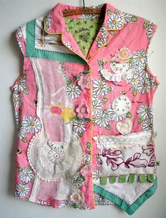 My Bonny Nick & Nora SHIRT  Altered with Vintage Linens