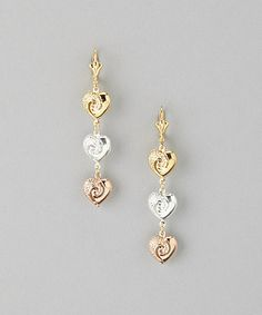 Look what I found on #zulily! Rose Gold & Gold Swirl Heart Huggie Earrings #zulilyfinds