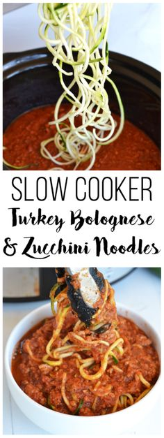 This Slow Cooker Turkey Bolognese and Zucchini Noodles are the perfect quick weeknight meal! This Slow Cooker Turkey Bolognese and Zucchini Noodles are the perfect quick, easy and healthy weeknight meal! It is Paleo & compliant! Crock Pot Recipes, Slow Cooker Recipes, Paleo Recipes, Cooking Recipes, Crockpot Meals, Healthy Crockpot Recipes, Quick Recipes, Bolognese Recipe, Healthy Slow Cooker