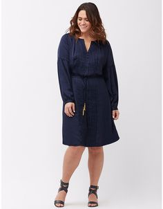 Plus size pintuck satin dress by Lane Bryant | Lane Bryant