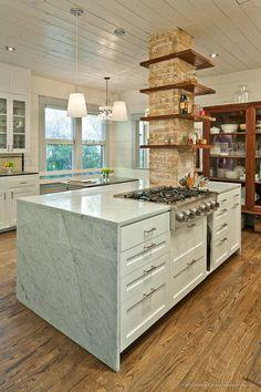kitchen marble exposed brick island shiplap https://larkbainbridge.squarespace.com