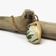 Tiny pottery shard necklace, Glazed sea pottery necklace, Upcycled English beach find jewelry, Green leaf pendant, Blue white beige necklace