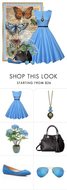 """""""she's like the wind"""" by countrycousin ❤ liked on Polyvore featuring WithChic, Sia, Vince Camuto, Talbots and Ray-Ban"""