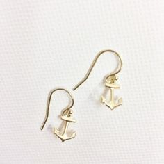 Beautiful and dainty gold filled anchor earrings.