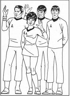 star trek group coloring picture for kids - Star Trek Coloring Book