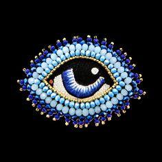 "Broche ""je t'ai à l'œil"" bleu V1"