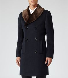 Navy Fur Collar Coat by Reiss. Buy for $745 from Reiss