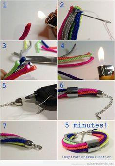 Tutorial para aprender a hacer pulsera con cordones de zapatos