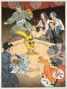 """Pokemon.  """"Video Games Re-Imagined As Traditional JapanesePrints  The guys behind Ukiyo-e Heroes create images of your favorite Nintendo characters in the style of Ukiyo-e, a traditional Japanese woodblock printing process. Artists use a master drawing to carve multiple blocks, which when inked, comprise different sections of the final image."""""""