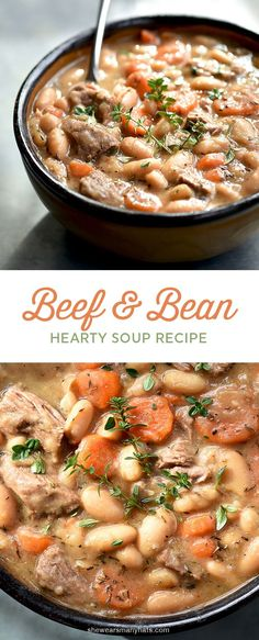 Warm up to a bowl of this hearty Beef and Bean Soup. #soup #recipe | http://shewearsmanyhats.com