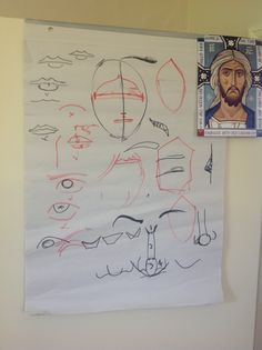 Face diagrams for Christ icon, Aidan Hart iconography Workshop, Walcot Hall… Biblical Art, Byzantine Icons, Writing Lessons, I Icon, Sacred Art, Renaissance Art, Religious Art, Art Techniques, Religion