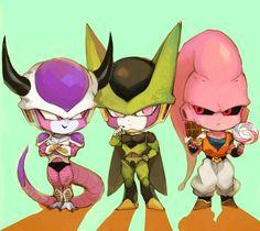 Frieza, Super Buu, and Cell chibi art