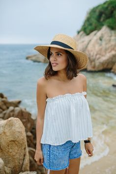 DIY: striped strapless top
