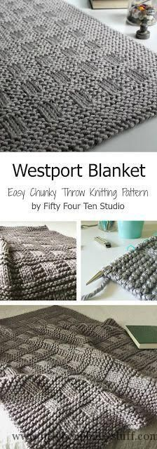 Baby Knitting Patterns Westport Blanket - easy chunky throw blanket knitting patter...