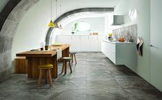 Porcelain stoneware flooring with marble effect BISTROT House Of Decor, Home Decor, Kitchen Interior, Kitchen Design, Kitchen Ideas, Tub Tile, Cement Tiles, Mosaic Tiles, Cocinas Kitchen