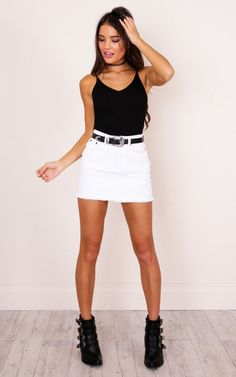 Toxic Knit Top In Black Produced – outfits Short Outfits, Sexy Outfits, Pretty Outfits, Spring Outfits, Casual Outfits, Cute Outfits, Fashion Outfits, White Skirt Outfits, White Denim Skirt