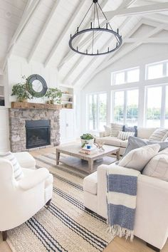 Craftsman Home Interior Lake House Blue and White Living Room Decor - The Lilypad Cottage.Craftsman Home Interior Lake House Blue and White Living Room Decor - The Lilypad Cottage Coastal Living Rooms, My Living Room, Living Room Interior, Home And Living, Cottage Style Living Room, Living Room Decor Beach, Small Living, Blue Room Decor, Lake House Family Room