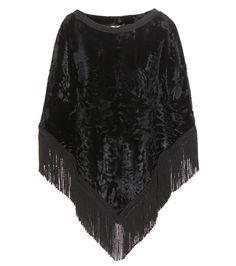 Dolce & Gabbana - Lamb fur and fringe embellished poncho - Who can resist Dolce & Gabbana's opulent style? Not us that's for sure. Straight from the brand's SS15 runway this fringe embellished poncho is the ultimate cover-up for the new season. Soft lamb fur in a dark black hue adds to the luxurious finish. seen @ www.mytheresa.com
