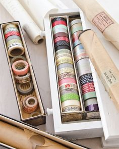 Find creative living ideas, like storing your washi tapes inside antique piano roll boxes, inside Somerset Life.