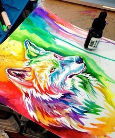 Rainbow wolf...