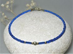 """Ocean Blue Ankle chain 6.5 - 10.5"""" ∫ Czech Glass Anklet Chain ∫ Women's Casual Anklets ∫  Blue Seed Beads Anklet"""