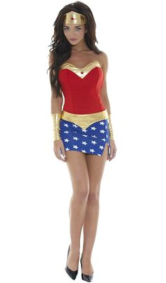 SaiDeng Women Halloween Party Cool Superwoman Cosplay Strapless Mini Dress ** Want to know more, click on the image.
