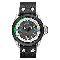 Diesel Watches Rollcage Three Hand Leather Watch