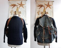 Vintage 1960s 1970s Large  Blue Canvas and Leather Rucksack Backpack on Etsy, $104.11 AUD