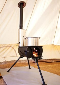 Full stove kit with everything you need including: Frontier Stove Water heater Tent flashing kit Spark arrestor Stove bag Water heater bag Axe Luxury Camping Tents, Camping Glamping, Camping Life, Family Camping, Camping Stove, Outdoor Camping, Camping Kitchen, Camping Cooking, Auto Camping